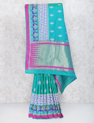 Sea green semi silk wedding saree