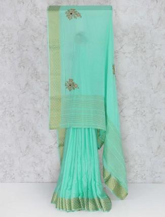 Sea green semi silk zari saree