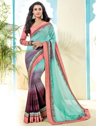 Sea green shaded georgette saree