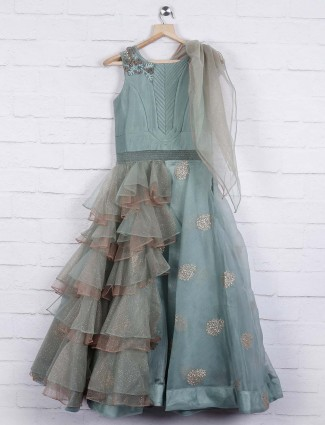 Sea green shimmer round neck gown