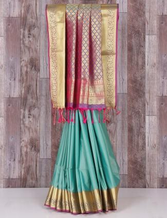 Sea green silk amazing saree