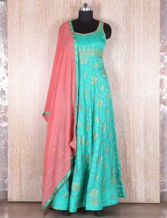 Sea green silk anarkali suit