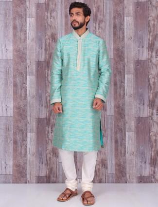 Sea green silk dressy kurta suit