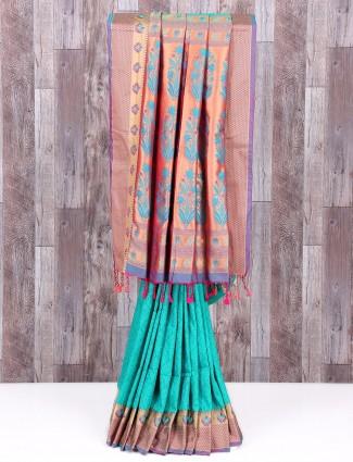 Sea green silk lovely saree