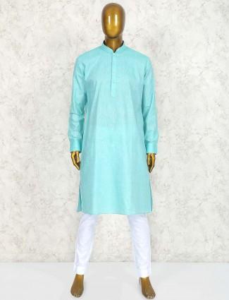Sea green solid cotton fabric kurta suit