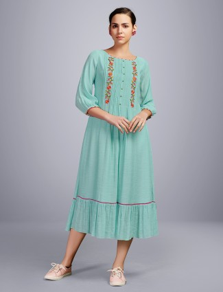 Sea green thread work festive wear cotton kurti