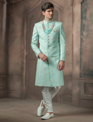 Sea green wedding raw silk sherwani