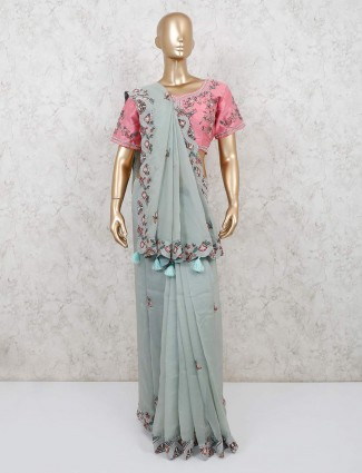 Sea green wedding reception saree design with readymade blouse