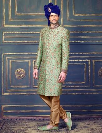 See green jamawar sherwani