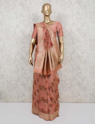 Semi banarasi silk in peach for party