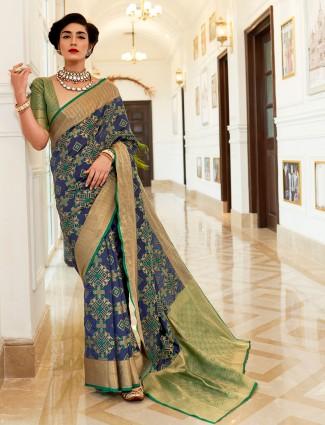 Semi banarasi silk saree in blue