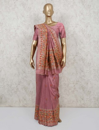 Semi banarasi silk saree in pink for festivals