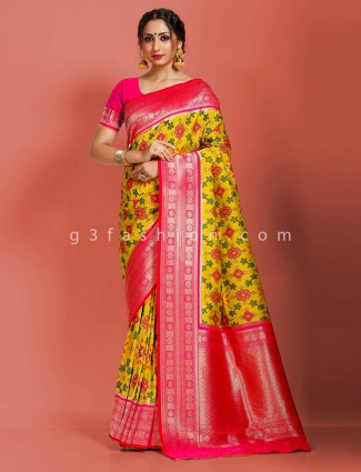 Semi patola silk yellow wedding function saree