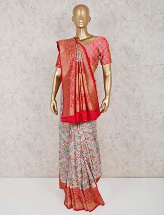 Semi silk beige festive saree