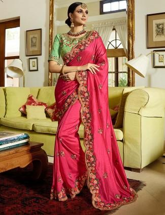 Semi silk fabric classic magenta saree