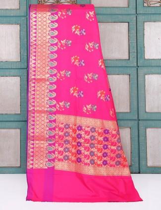 Semi silk fabric magenta color saree