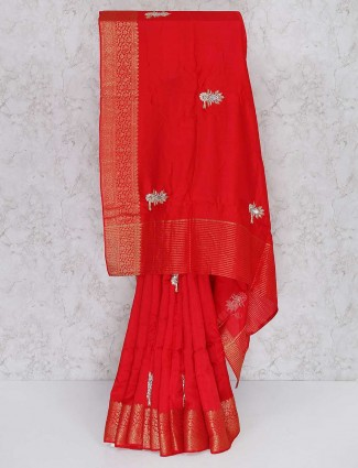 Semi silk fabric red wedding saree