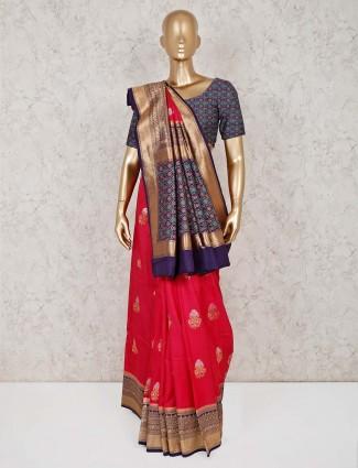 Semi silk magenta saree