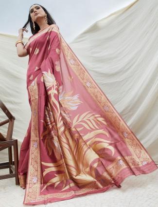 Semi silk onion pink festive wear saree