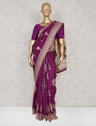 Semi silk purple saree