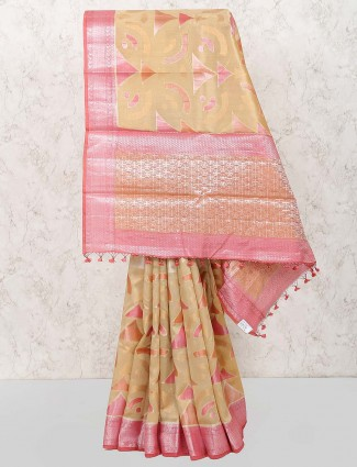 Semi silk saree in beige hue