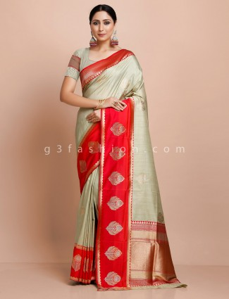 Semi silk wedding saree in beige and red
