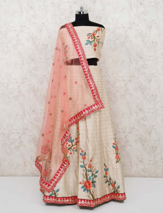 Semi stitched bhagalpuri silk lehenga in beige color