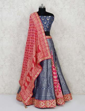 Semi stitched Blue Banarasi silk lehenga in half & half concept