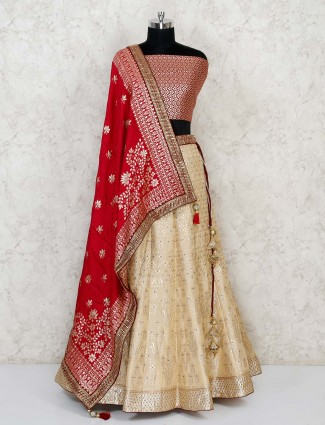 Semi stitched cream and red banarasi lehenga