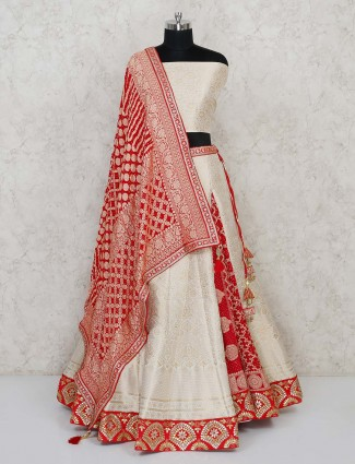 Semi stitched cream banarasi lehenga in haf and half concept