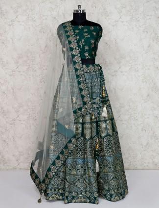 Semi stitched green printed wedding lehenga choli