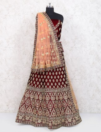 Semi stitched lehenga choli in maroon color