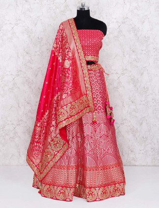 Semi stitched lehenga choli in pink color for bridal