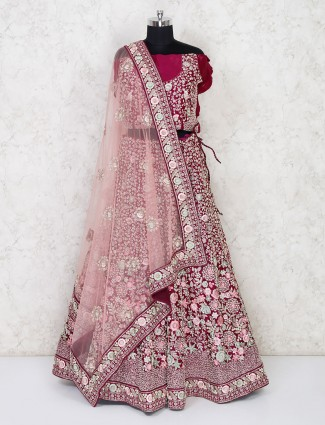 Semi stitched maroon silk lehenga for wedding bride