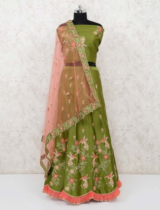 Semi stitched olive green lehenga for mehendi function