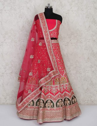 Semi stitched pink silk lehenga choli for bridal