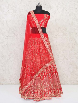 Semi stitched red silk lehenga choli in silk for wedding