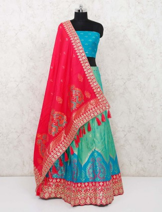 Semi stitched wedding wear sea green lehenga with red silk dupatta