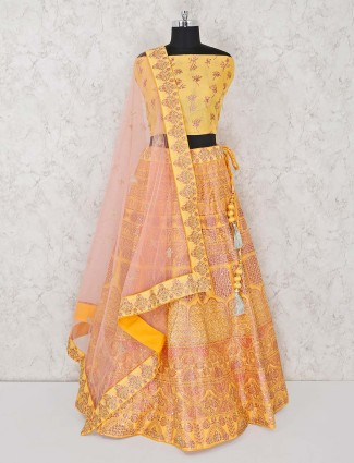 Semi stitched yellow wedding lehenga choli