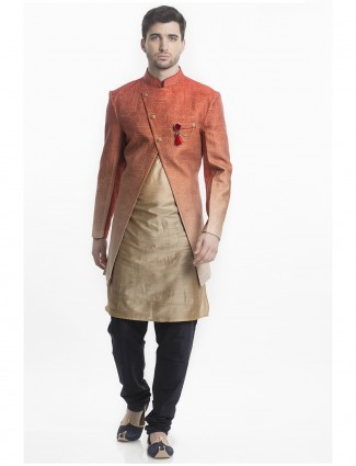 Shaded beige orange silk indo western
