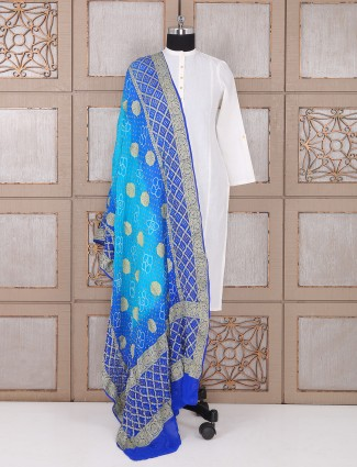 Shaded blue bandhej dupatta