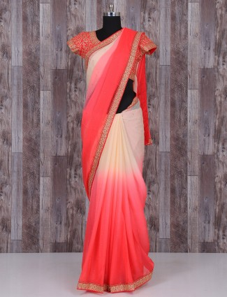 Shaded cream red silk saree
