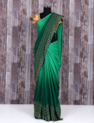 Shaded plain green marble chiffon party wear saree