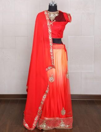 Shaded red and orange net lehenga choli