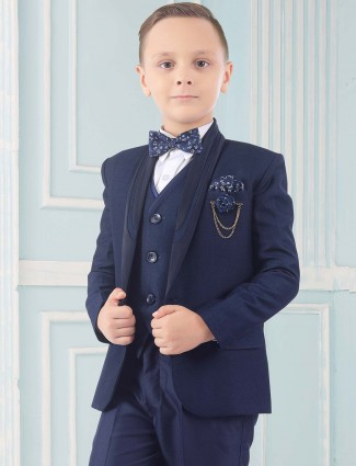 Shawl collar solid blue hue terry rayon tuxedo suit