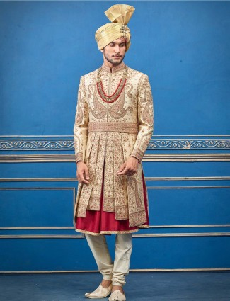 Sherwani in beige raw silk for groom