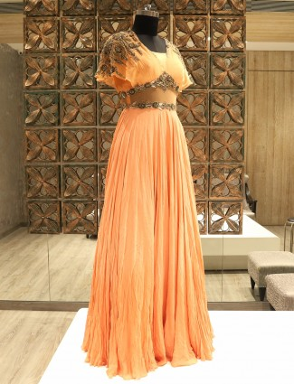 Shop Peach Georgette Cape Style Gown by G3+ Video Shopping
