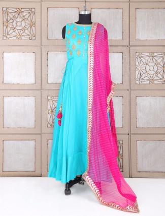 Silk anarkali suit in aqua color