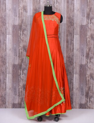 Silk anarkali suit in red color for festive function