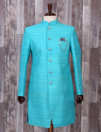 Silk aqua hue indo western for festive function